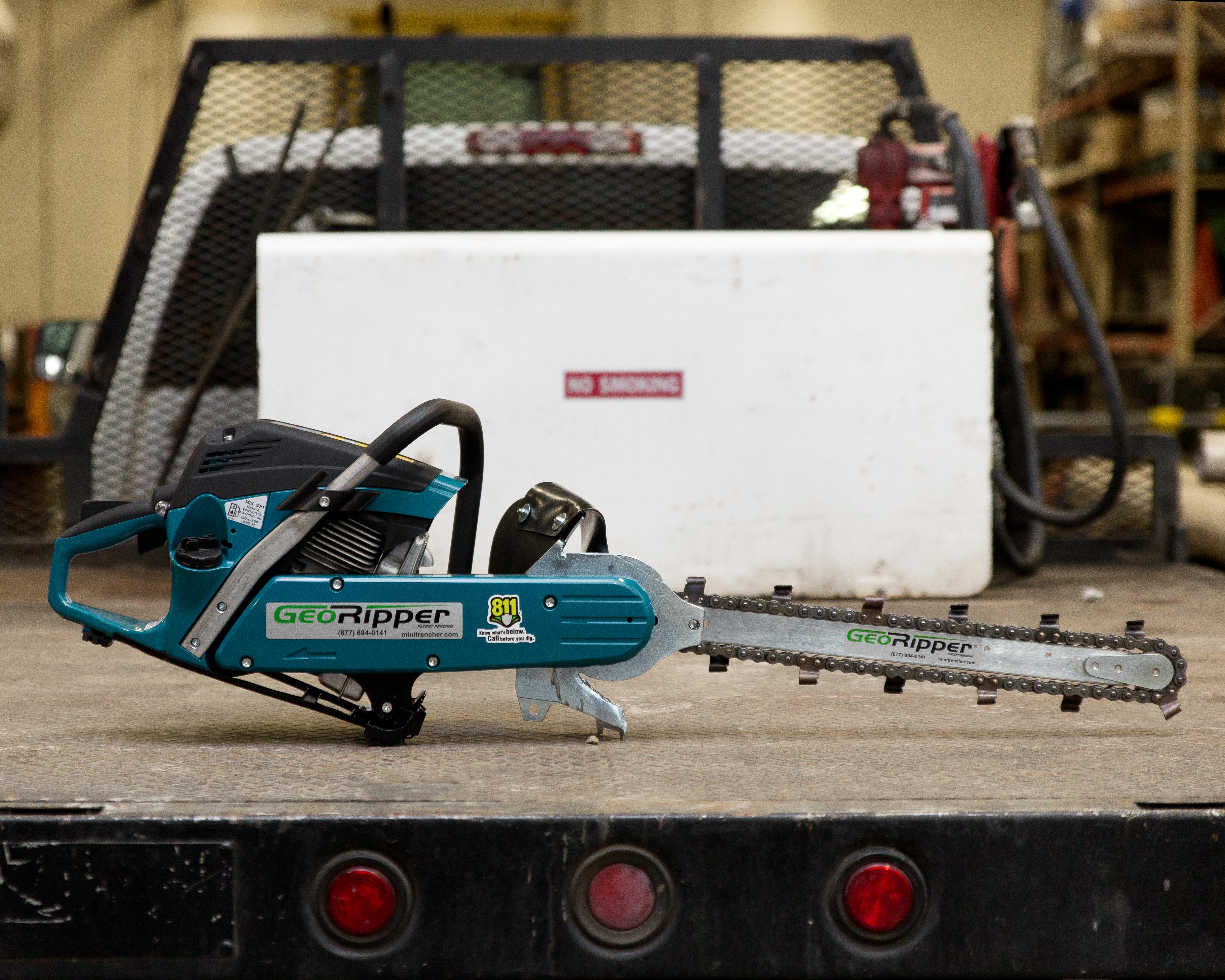 GeoRipper handheld trencher on truck